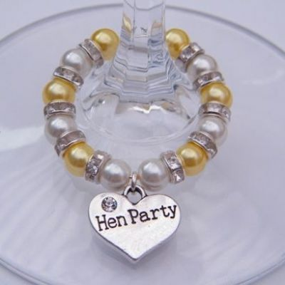 Hen Party Wine Glass Charm Favours - Full Sparkle Style